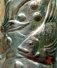 Detail from Newlyn copper vase.