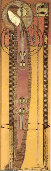 Embroidered panel Margaret Macdonald  Mackintosh 1902s GSA