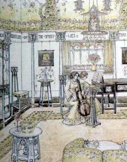 Design for a music  room by George Logan . Watercolour c 1905 GM.Pencil ink and watercolor on canvas.  Glasgow Museums