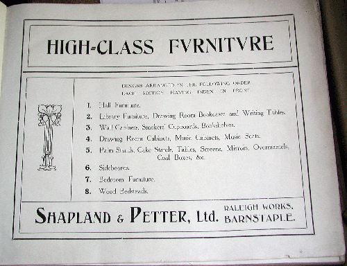 Shapland and Petter Furniture Catalogue circa 1906