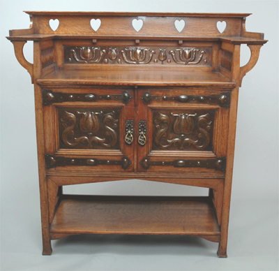 Oak Buffet with Repoussé Copper Panels designed by William Cowie, Shapland and Petter