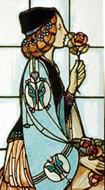 A rose design for stained glass by E.A Taylor.