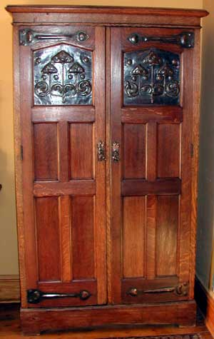 Oak Hall Cupboard in Medieval Style, original patina.  Shapland and Petter.